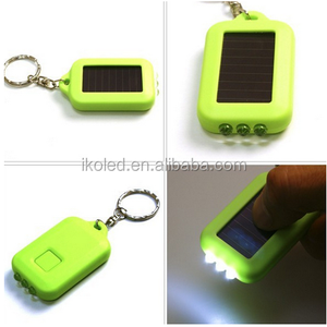 Portable LED torch keychain with the 3 leds solar power panel led flashlight