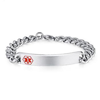 Stainless Steel Id Bracelet Man Woman Medical Alert Bracelets For Diabetic Free Engraved Name