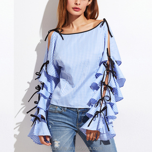 New Design 2017 Ladies Long Sleeve Elegant Off-Shoulder Loose Fashion Blouse