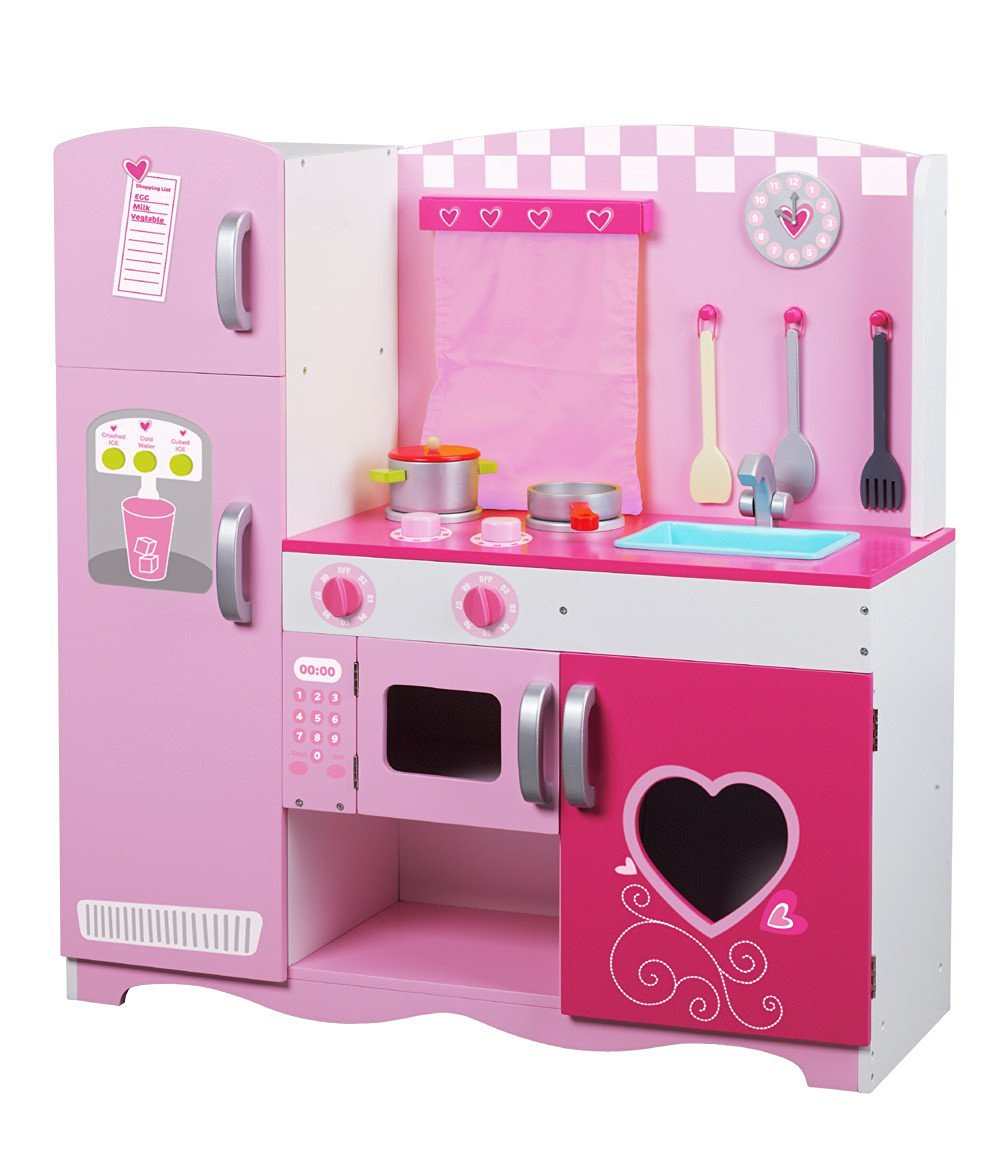Classic Toy Wooden Kitchen Set - Primry Color Pink - Kitchen Appliances Toy and Accessories - Pretend Play & Games - Includes Pots and Pans, Utensils, Sink, Refrigerator, Microwave, Stove, Clock and Window - Perfect Gift for Young Girls