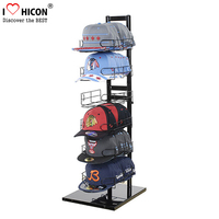 Black Metal Portable Single Row Hat Display Rack, 6-Tier Floor Standing Display Cowboy Hat Rack
