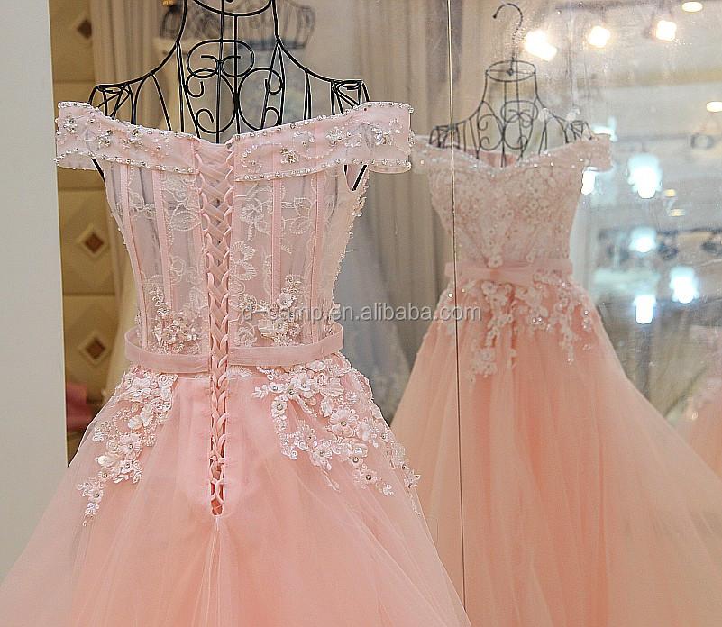 EL102 hombro Rosa vestido de bola niñas vestidos de fiesta largos 15 ...