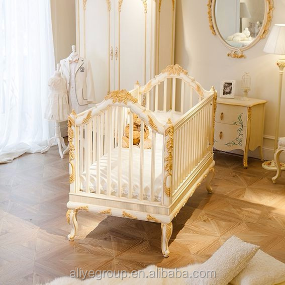 Wy108 luxury golden baby bed crib wooden design royal baby for Bett prinzessin