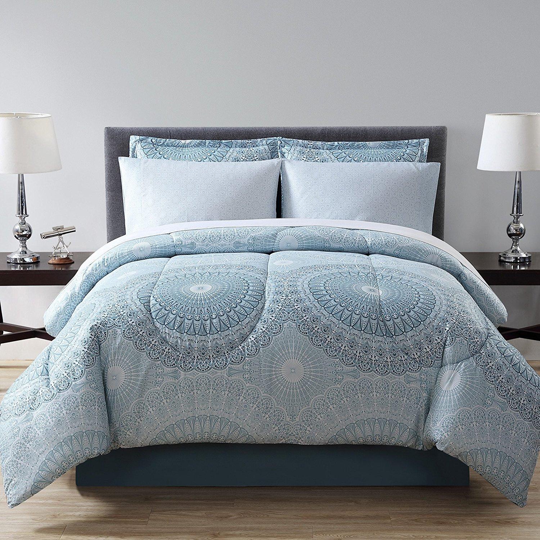 D&H 8 Piece Girls Light Teal Blue Medallion Theme Comforter King Set, Beautiful All Over Geometric Floral Mandala Bedding, Girly Boho Chic Bohemian Intricate Flower Themed Pattern