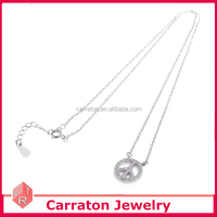 Mercedes-benz brand marked zircon pendant Jewelry in Rhodium Plated from China jewelry factory