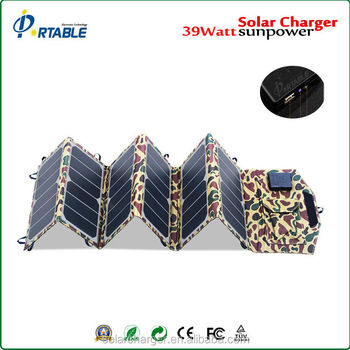 Portable 39W Sunpower flexible folding solar panel charger for mobile phones