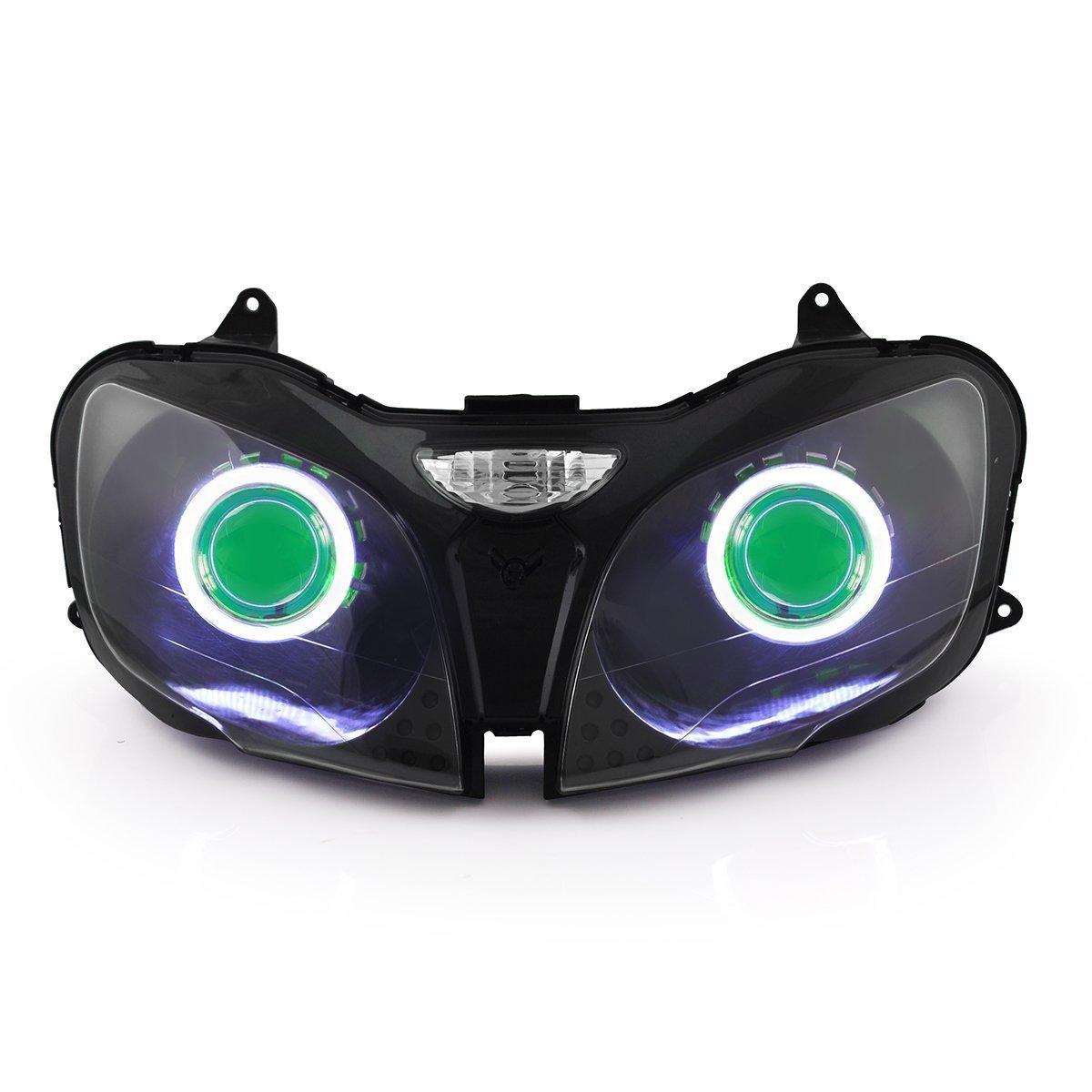 KT LED Angel Eye Headlight Assembly for Kawasaki Ninja ZX6 ZX6R ZX-6R 2000-2002 Green Demon Eye