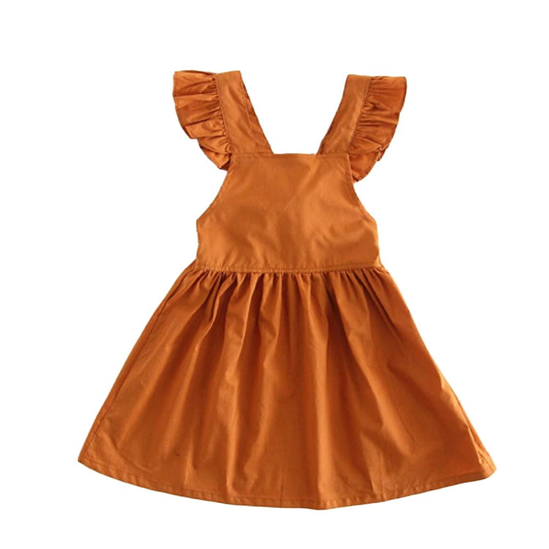 b96a0f7f Get Quotations · YOHA Baby Girls Ruffle Jumper Dress Suspender Skirts  Pinafore Toddler Dress