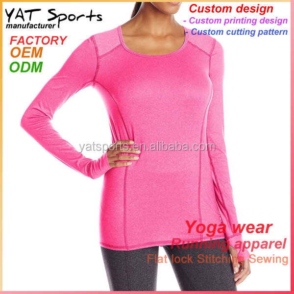Low MOQ Pink crew neck long sleeve womens gym dry fit running t shirt