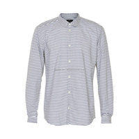 OEM Service for 100% Cotton Yarn Dyed poplin Men's Casual Shirts, woven shirt, fashion menswear Long Sleeves per-washed