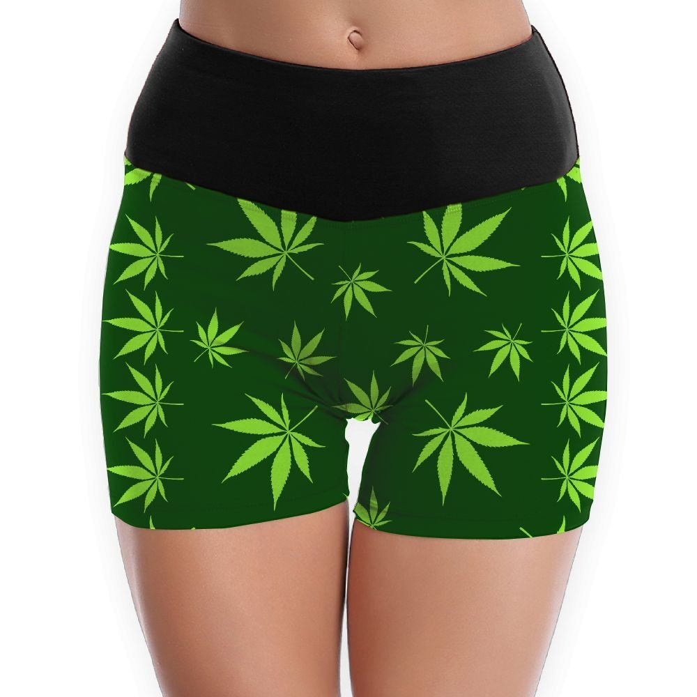 46080b206c Get Quotations · Pot Leaves Weed Leaf Green Yoga Shorts For Women Tummy  Control Workout Running Shorts Pants Yoga