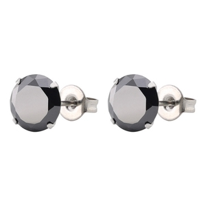 Hot Sell Black Zircon Earrings Simple 6 Sizes Ear Studs Women
