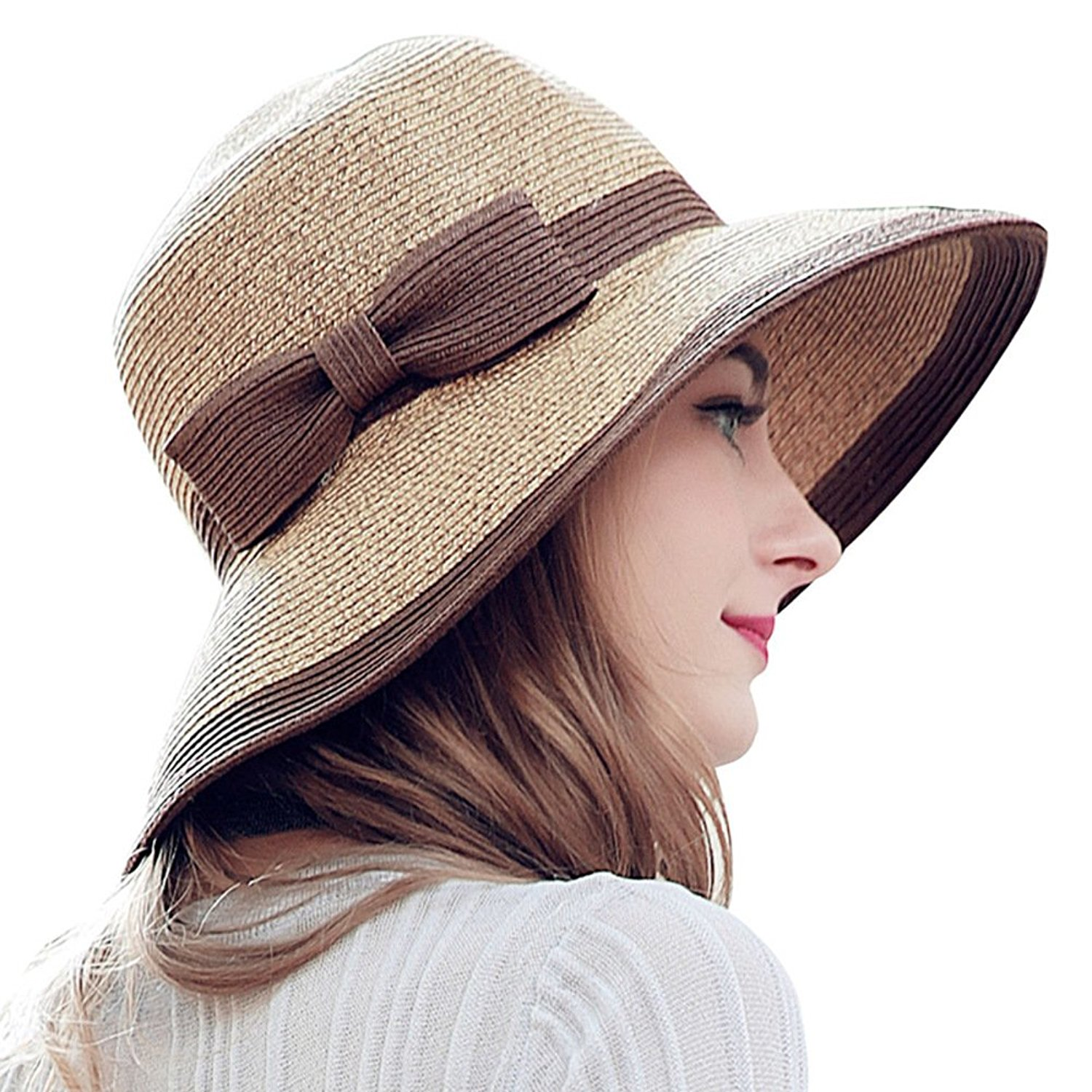 44028d4765f Get Quotations · Ladies summer sun hats Large straw hat Visor Summer Sun  can be folded