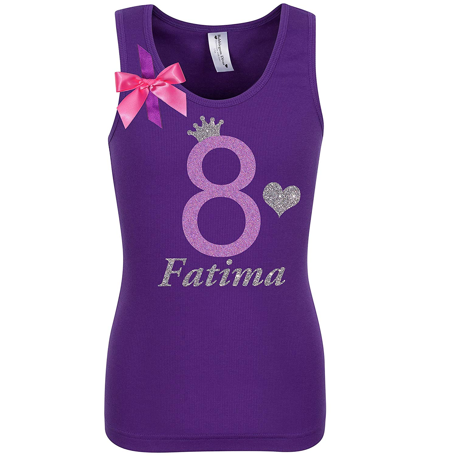 Get Quotations Girls 8th Birthday Party Shirt Lavender Glitter 8 T Tank Top Custom Name Age