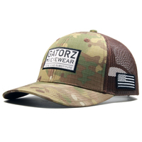 Wholesale High Quality Patch Logo 5 Panel Camo Trucker Hat Custom Nylon Mesh Cap
