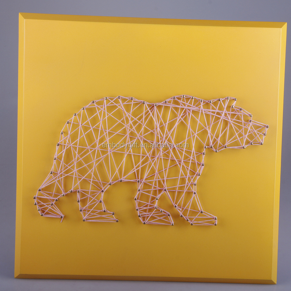 Hand-made Wooden String Wall Art With The Bear Shaped Design For ...