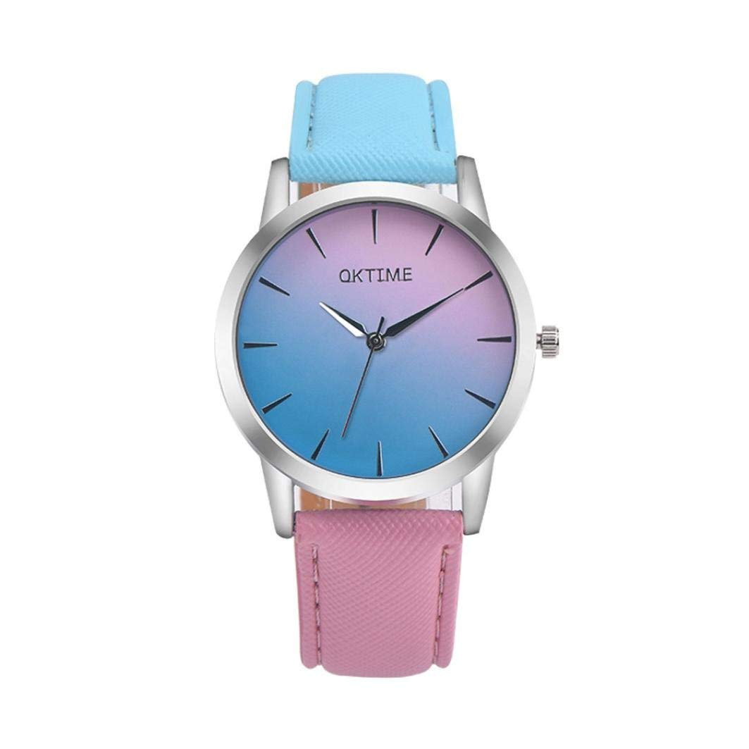 WM & MW Women's Watch Simple Retro Rainbow Design Leather Band Analog Alloy Quartz Wrist Watch
