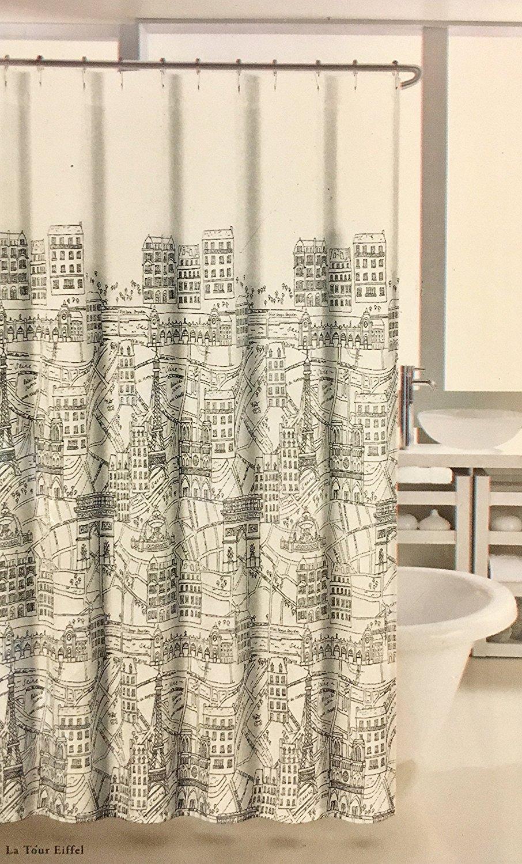 Nicole Miller Home Fabric Shower Curtain La Tour Eiffel Paris City Scene White Black