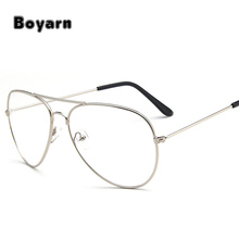 Classic Pilot Sunglasses Frames Optics Eyeglasses Transparent Lens Clear Glasses Women Men Optical Alloy Metal Eye Glasses Frame