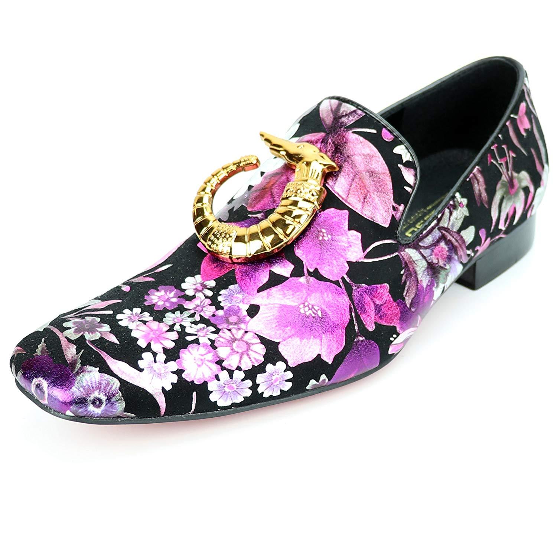 2e72627e9af Get Quotations · Fiesso by Aurelio Garcia FI-7259 Black Multi Color Slip on  Loafer - European Shoe