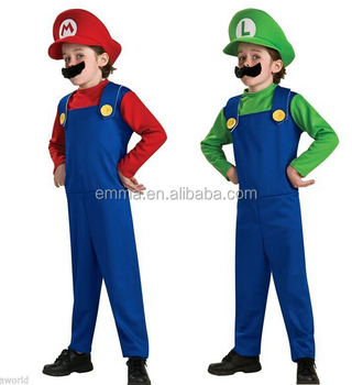 Super Luigi Mario Bros Carnival Costume Kids Boys And Girls Fancy