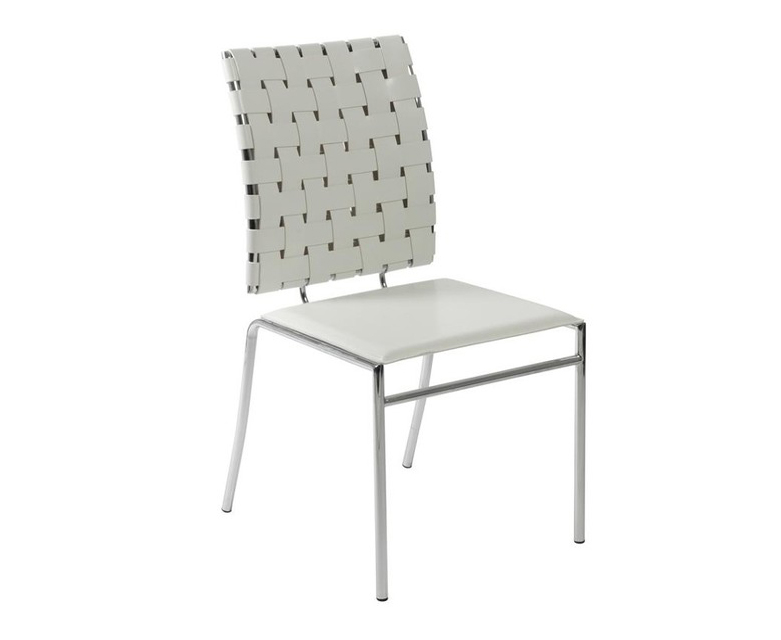 Micro Leather Straps Dining Chair 96012 Italian Woven Chairs White Product On