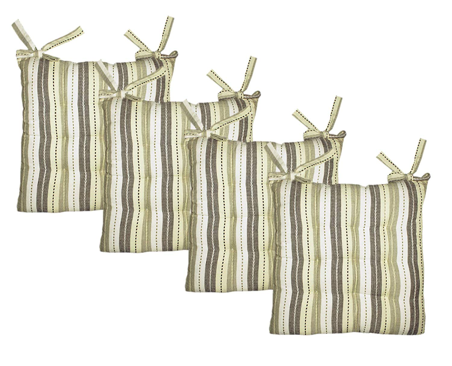 Cotton Craft - 4 Pack Natural Light Olive Salsa Stripe Dining Chair Pad Cushion with Ties
