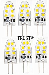 TRUST 6 PACK Newest G4 12SMD2835 2.5W (15-18W replacement) Base 8-30V AC/DC LED Light Bulb Replacement - Warm White Color - Tower Type ji-Pin 15-18 Watt Halogen Replacement for RV Campers…