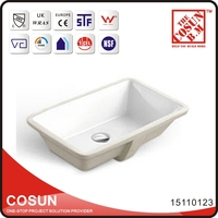 Porcelain Large Shallow Undermount Bathroom Sink