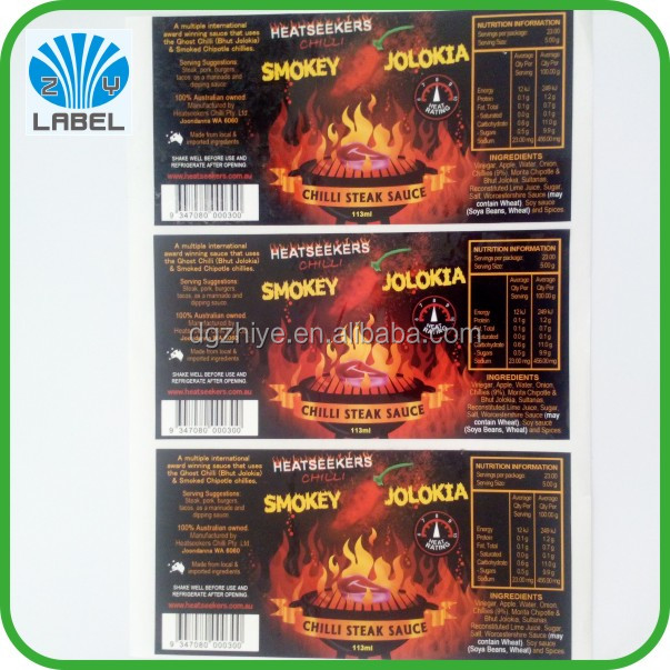 Hot Sale Promotion Chili Paper Label Hot Spicy Pepper Food Sticker