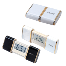 Very small lcd slide digital clock/beep-beep alarm Retractable Travel Alarm Clock with Snooze Button