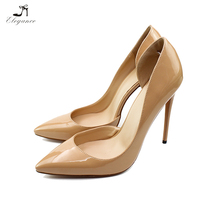 2018 Plus Size Sexy Party Girls Ladies Blue Beige Patent PU Pointed Toe Pencil Super High Heels Shoes Women