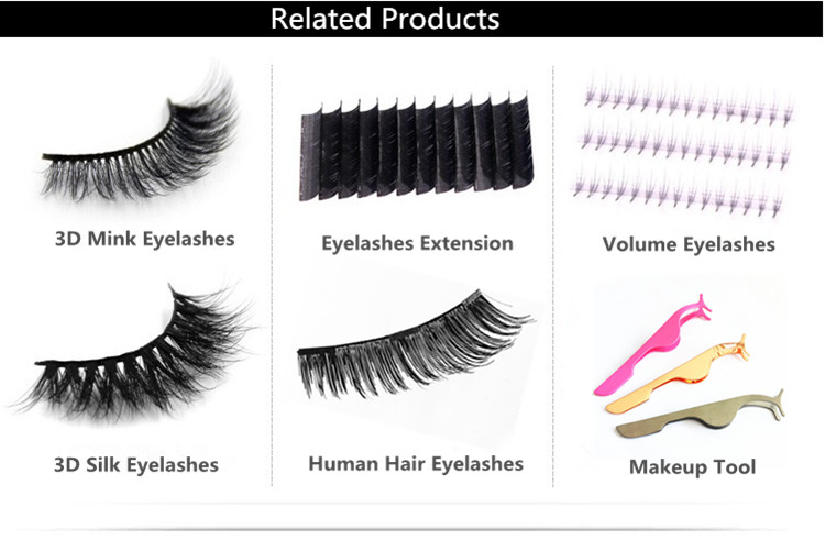 100% Natural Material Hand-made 3D Mink Eyelashes with Clear Bond