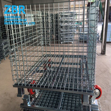 Collapsible Heavy Duty Pallet Container Cage Steel Mesh Box used Warehouse Storage