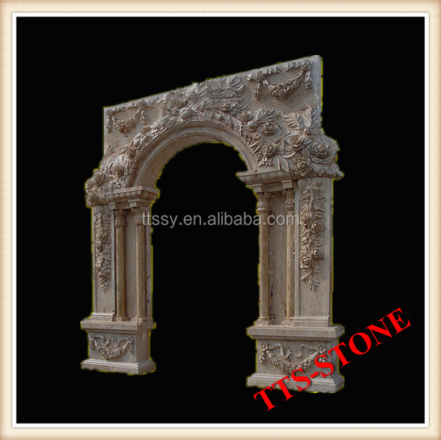 Old Marble Stone Carving Flower Door Frame