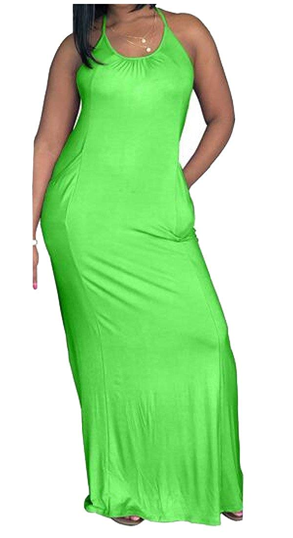 Get Quotations · Andopa Womens Sexy O-Neck Halter Loose Backless Pure Color Flowy  Party Maxi Dress e44c65ce6