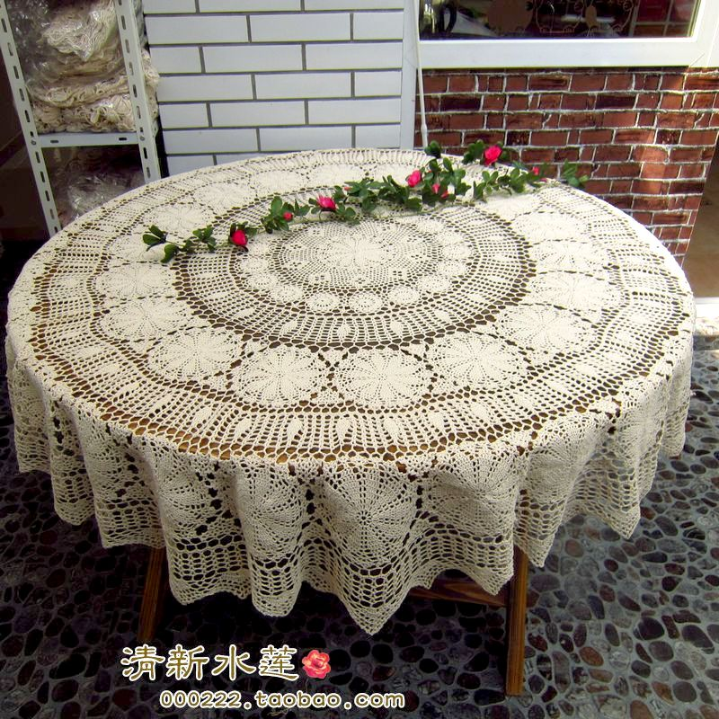 free shipping round lace tablecloth for wedding spandex cover overlay for table crochet. Black Bedroom Furniture Sets. Home Design Ideas