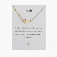 New Design Women Elegant Gold and Silver Faith Advisory Slogan Quotes Short Cross Pendant Necklace with Card