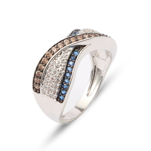 Wedding Gemstone Woman Men Diamond Color Gold Cz Multi Stone Zircon Ring