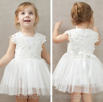 White Tulle Lace Fabric Baby Girl Summer Dress 2017 Latest Frock