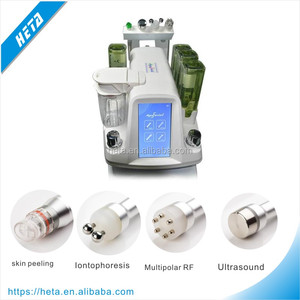 Promotion ! Multifunction Ultrasound + Multipolar RF + Bio Microcurrent + Dermabrasion Spa Facial Machine