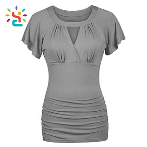 Hot sale t shirt 100% cotton blank women t-shirt stylish ladies t shirt blouses