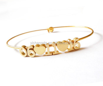 Date Bracelet Build Your Own Number Bangle Wedding Anniversary Save The