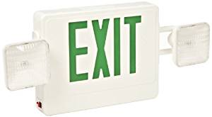 Morris Products 73032 Combo LED Exit Emergency Light, Green LED Color, 5.4 Watt Incandescent Emergency Lamp Heads (2)