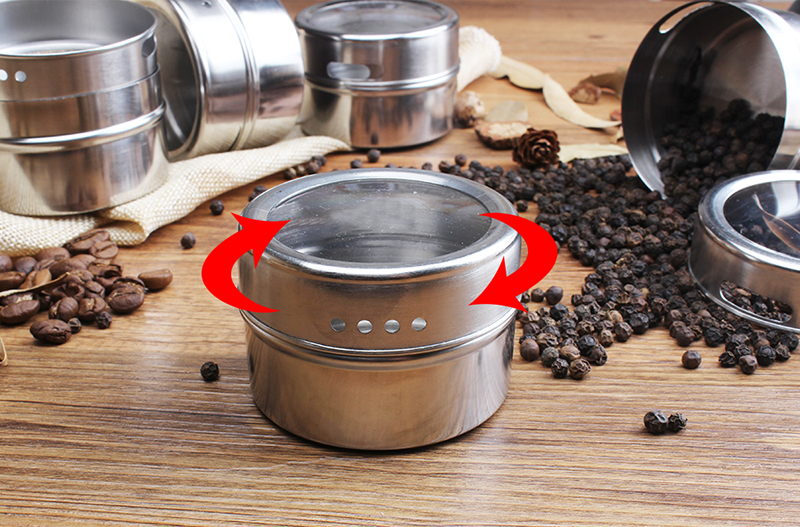 Amazon hot sales 12 16 24 Stainless Steel Salt and Pepper Shakers Magnetic Spice Jar/magentic spice tin/spice shaker tin