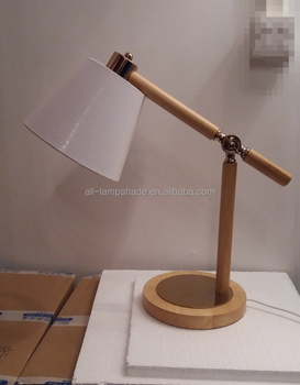Classic Wooden Table Lamp Flexible Reading Lamps With Linen