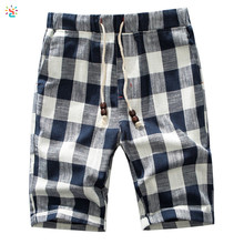 Premium shorts men high waist shorts plaid classic fit casual shorts with adjustable drawstring pants