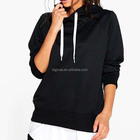 Quality Control OEM Service Low Price Sweat Wholesale Women Plain Black Longline Hoodie