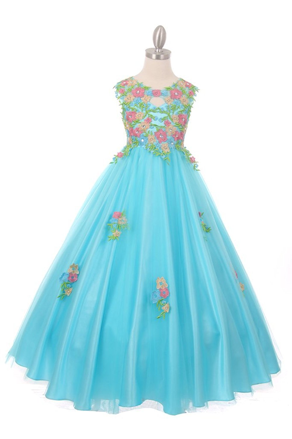 The Couture Dresses Beautiful All Over Hand Placed and Sewn Flower Embroidery Lace Dress, Aqua 10