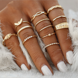 12 pc/set Charm Gold Color Midi Finger Ring Set for Women Vintage Boho Knuckle Party Rings